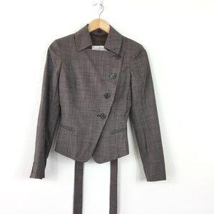 Max Mara Wool Silk Lined Asymmetric Button Blazer